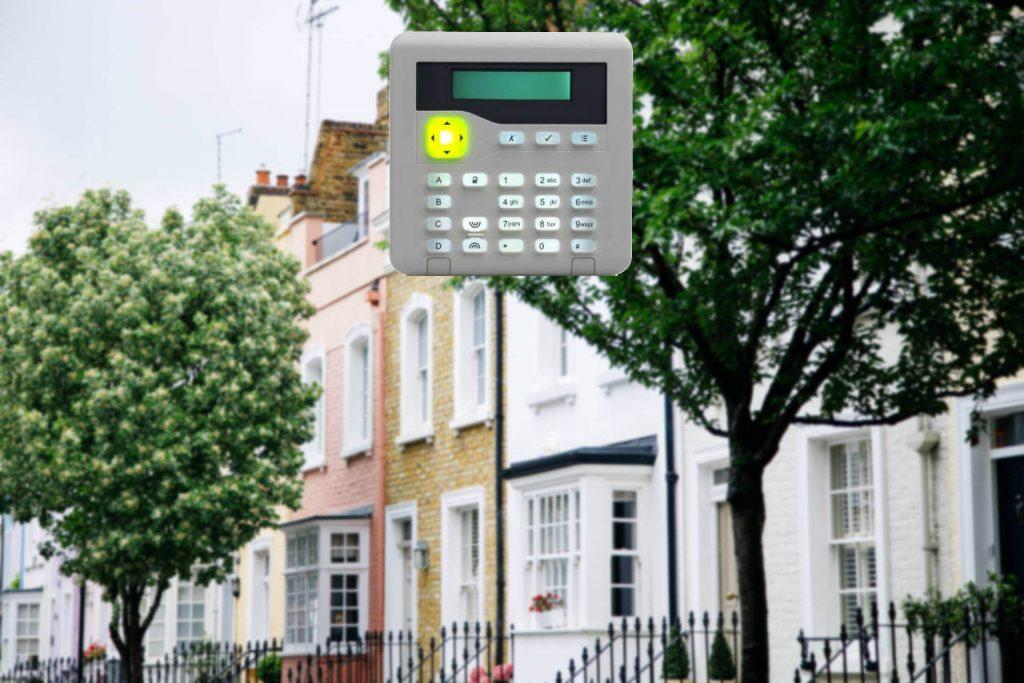 street scene with keypad